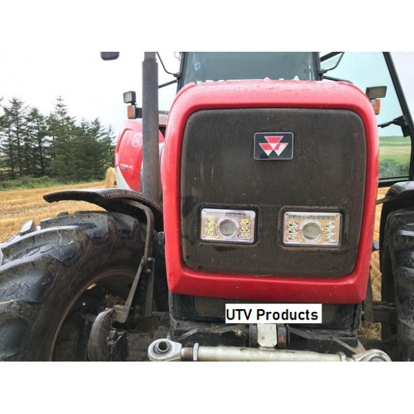 LED Headlight Massey-New-Holland-JD-Fiat-global-tractors-digger-rectangular-headlights-lamp-road-legal-RHD