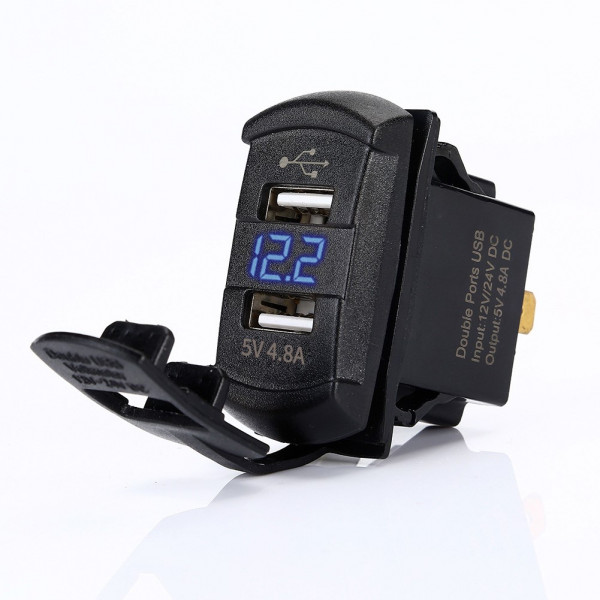 USB dual twin outlet and voltmeter rocker switch 4.2A