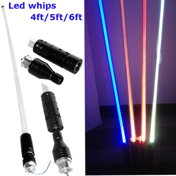 4 feet (1.2m) long coloured led fibre optic whip pole quarry port buggy